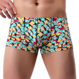 FeiTong Boxer Men Cueca Patchwork Print Boxer Shorts Bulge Pouch Underpants Gay Clothing Mens Underwear Boxers Brand