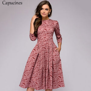 Capucines Navy Blue 3/4 Sleeves Printed Dress Women 2019 Spring Summer Vintage Pocket A-line Casual Dress Elegent Party Vestidos