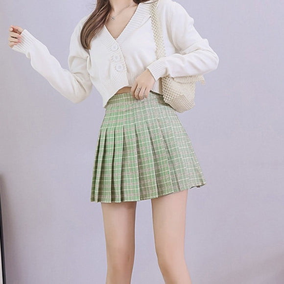 High Waist Pleated Mini Skirts For Women Plaid Sweet Korean Style A-line Preppy College Style Girls Slim High Waist Skirts