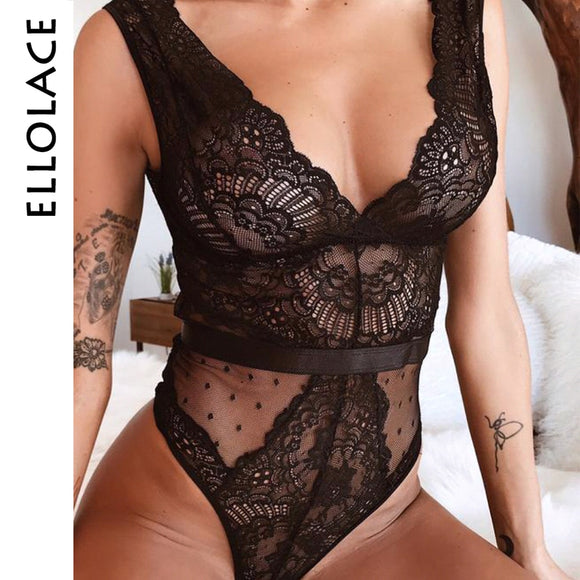 Ellolace Summer Lace Bodysuit Women Floral Embroidery Deep V Neck Sexy Bodysuit Dot Patchwork Jumpsuit Overalls Femlae Body
