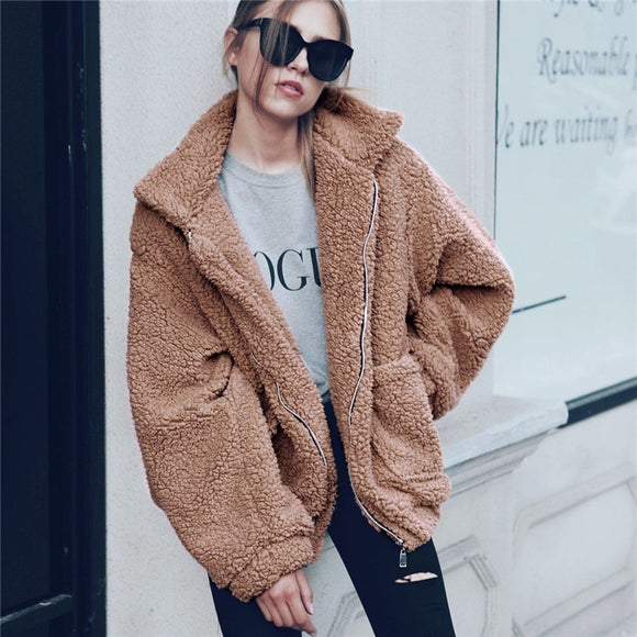 Elegant Faux Fur Coat Women Autumn Winter Thick Warm Soft Fleece Jacket Pocket Zipper Outerwear Overcoat Bear Teddy coat S-3XL