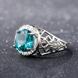 Bague Ringen Vintage 100% 925 Sterling Silver Created Alexandrite Gemstone Rings For Women Party Anniversary Fine Jewelry Ring