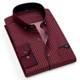 Printed Plaid Polka Dot Men Shirt Long-Sleeved Casual Shirts For Men Slim Fit 21 Colors Male Dress Shirts Camisas Masculina