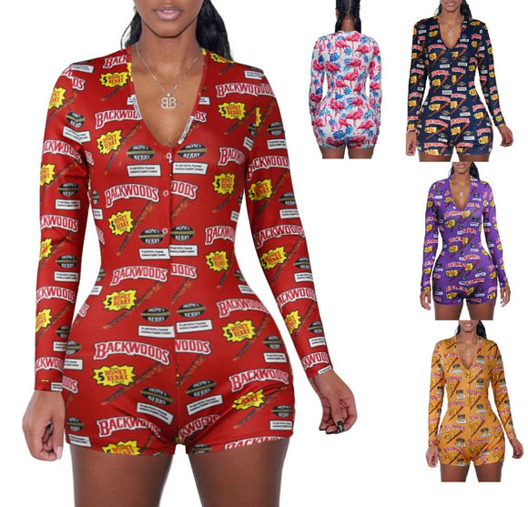2020 spring short pants Rompers Sexy Bodycon long sleeve print jumpsuit for women DZ002