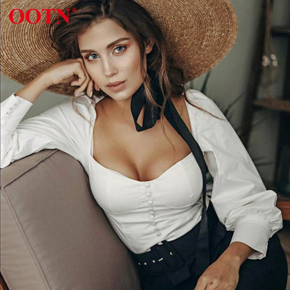 OOTN Square Collar White Tunic Women Blouse Shirt Female Elegant 2019 Summer Sexy Puff Sleeve Tops Ladies Office Blouses Casual