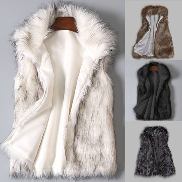 2019 New Fashion Faux Fur Coat Winter Women Waist Coat Women's Jacket Fur Vest Ladies Wool Vest Stand Collar Faux Coat#1028