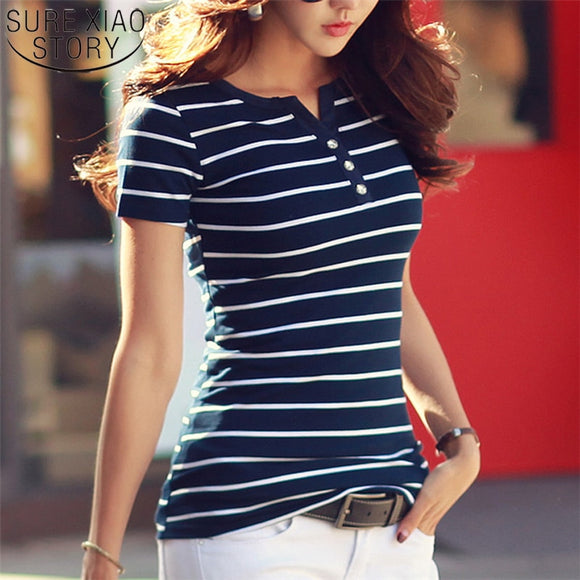 2019 Summer Top Shirts V-neck T Shirt Women Short Sleeve Casual tshirts White Strip T-Shirt Plus Size Cotton Tee Shirt  3188 50