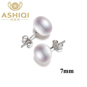 ASHIQI Natural Freshwater Pearl Stud Earrings For Women Real 925 Sterling Silver Jewelry Gift