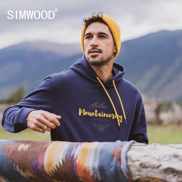 SIMWOOD 2020 spring winter new hooded hoodies 100% cotton letter Mountain print contrast color  sweatshirts plus size SI980565