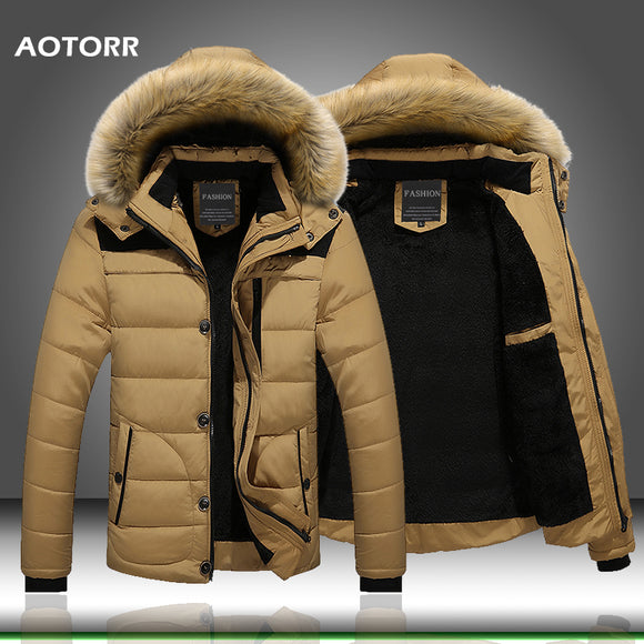 Fur Collar Hooded Men Winter Jacket Men Coat Snow Parka Down Jacket Outerwear Thick Thermal Men Warm Wool Liner Coat M-6XL