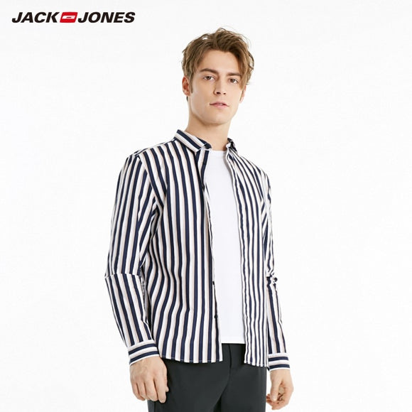 JackJones Men's 100% Cotton Straight Fit Contrasting Stripe Long-sleeved Shirt 219105558