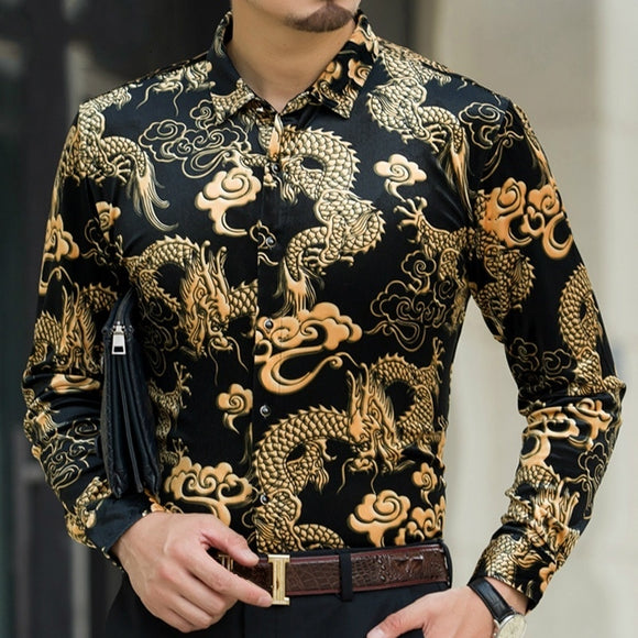Men Velvet Shirts Paisley Printed Gold Loong Dragon Pattern Long Sleeve Tops Slim Black Blue Shirt 201-A469
