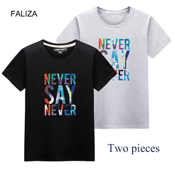 New Men T-Shirt Pack Of 2 letter Printed Crewneck Loose T Shirt Mens Short Sleeve 100% Solid Cotton Tops Tee Shirt Summer TX141
