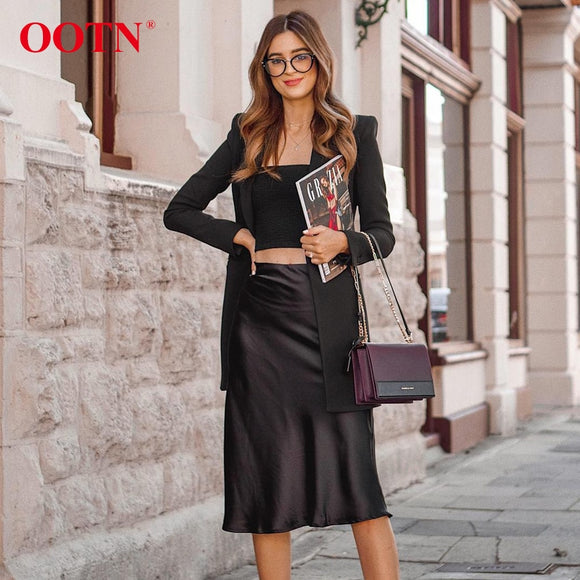 OOTN Casual Silk Black Skirt Women Summer Autumn Knee-Length Office Lady High Waist Elegant Satin Skirts Ladies 2019 Fashion