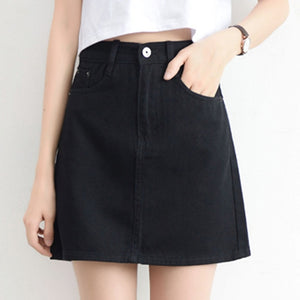 Lucyever Fashion Korean Spring Summer Women Denim Skirt High Waist Mini Skirts Jeans Plus Size Harajuku Cotton Girls Black Skirt