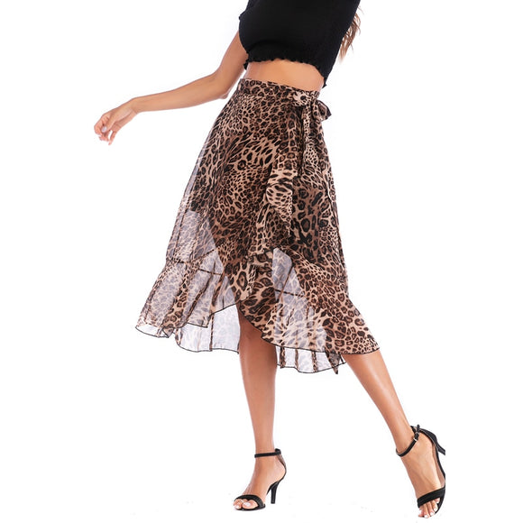 Neophil Chiffon Summer Women Midi Skirts Ladies Leopard Printed Lace-up  Fashion Beach Bohemian Mermaid Skirts Femme Jupe S2035