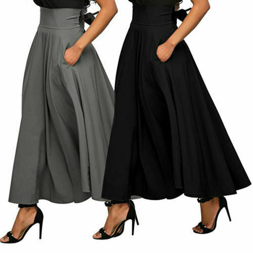 ღtwღVintage Women Stretch High Waist Plain Skater Flared Pleated Long Skirt