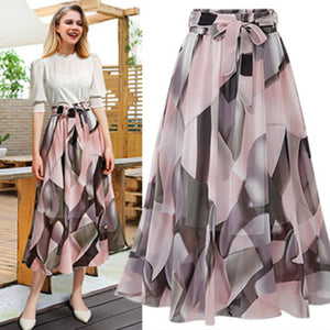 Fashion Womens Plain Knee Length Ladies Soft Stretch Flared Printed Casual Skater Midi Skirt Jupes Afueras