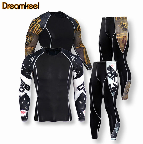 Men thermal underwear clothing leggings suit for fitness corset  compression sweat suits mensuit Tracksuit men bodysuit R