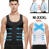 Mens Slimming Body Shaper Shapewear Abs Abdomen Compression Shirt to Hide Gynecomastia Moobs Workout Tank Tops Undershirts
