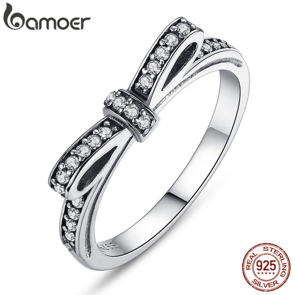 BAMOER HOT 925 Sterling Silver Sparkling Bow Knot Stackable Ring Micro Pave CZ for Women Valentine's Day Gift Jewelry PA7104