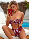 Ellolace 2020 Bikini Set Ruffer Flower Print Women's Swimsuit Bandeau Fashion Swimwear Bathing Suit Push Up Bikini Vacation 2020