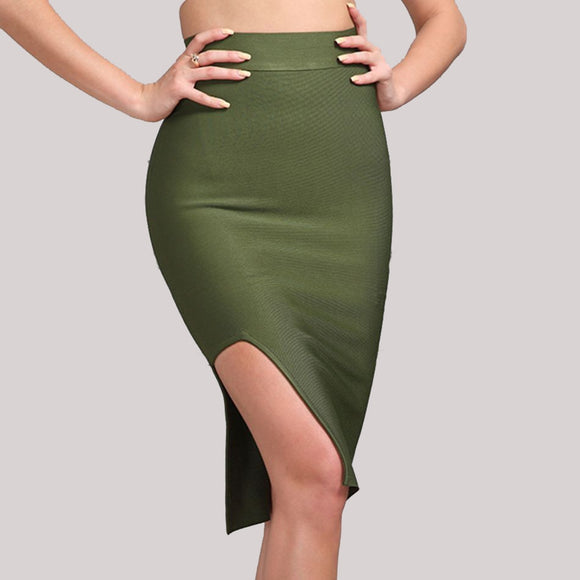 New Bandage Skirt Women Runway Olive Green Celebrity Party Sexy Split Runway Night Out Skirt Women Bodycon Wholesale