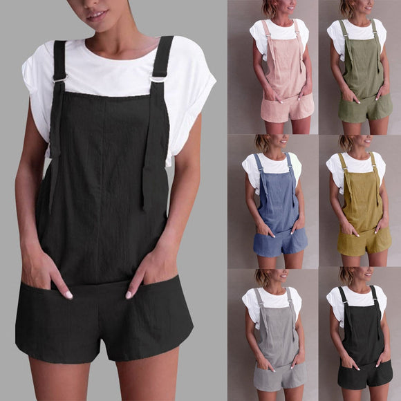 Women Elastic Waist Dungarees Linen Cotton Pockets Rompers Playsuit Strap Shorts Pants #1