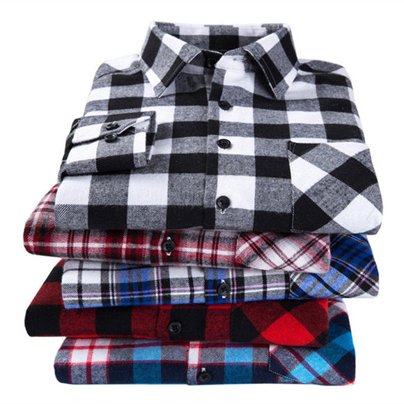 2019 New Men's Plaid Flannel Shirt Plus Size 5XL 6XL Soft Comfortable Spring Male Slim Fit Business Casual Long-sleeved Shirts