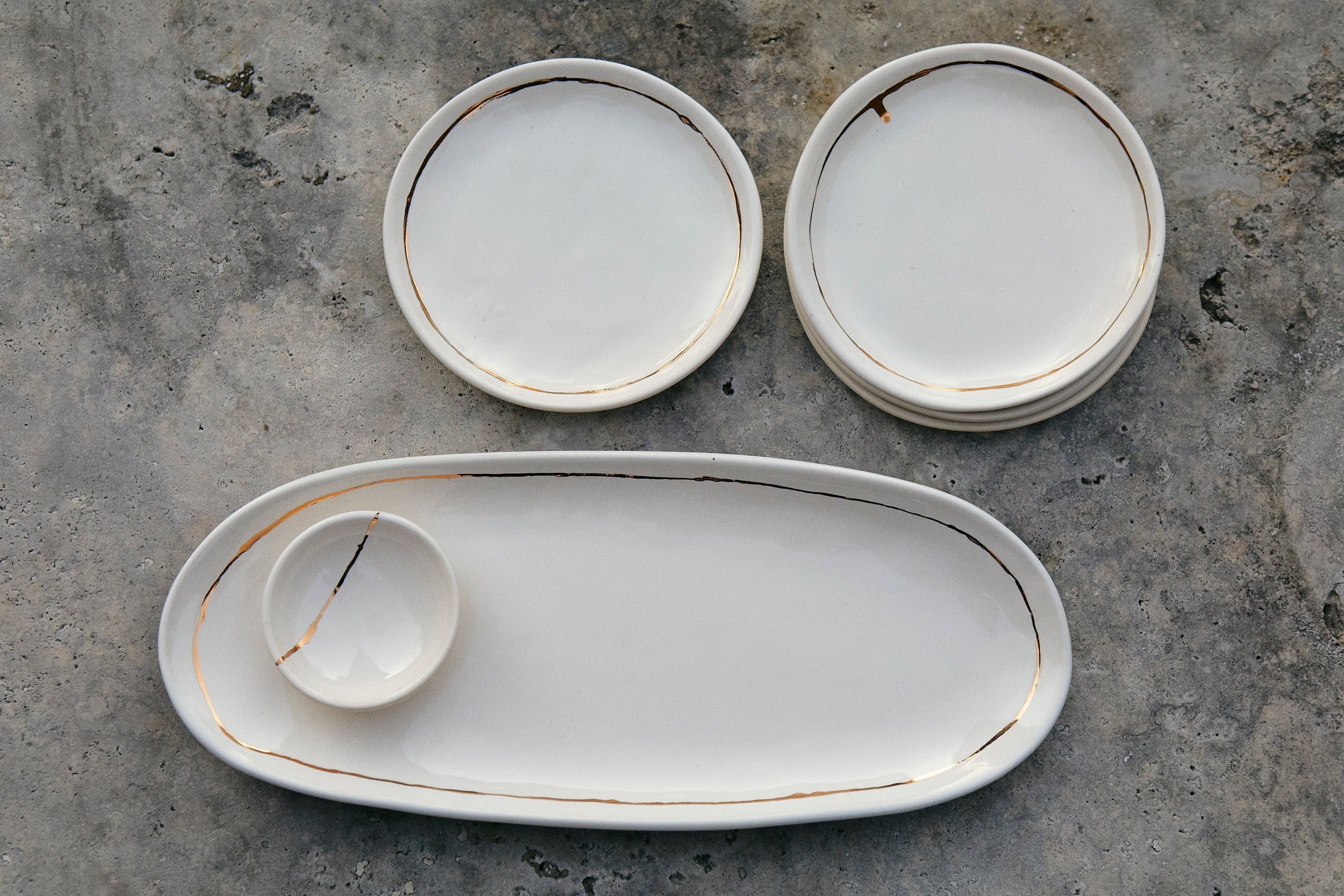 Gold Luster Bread Plate Set