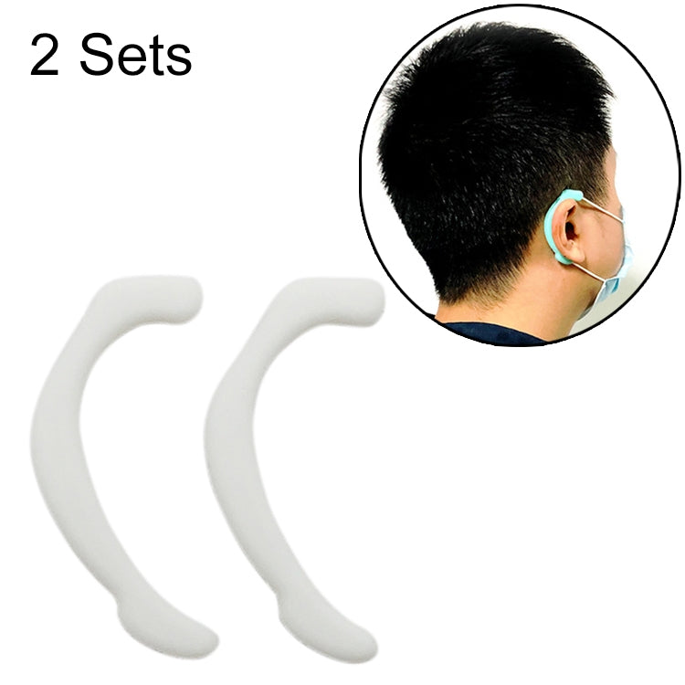 Reusable Face Mask Soft Silicone Ear Hook Invisible Earmuffs (2 pack) White