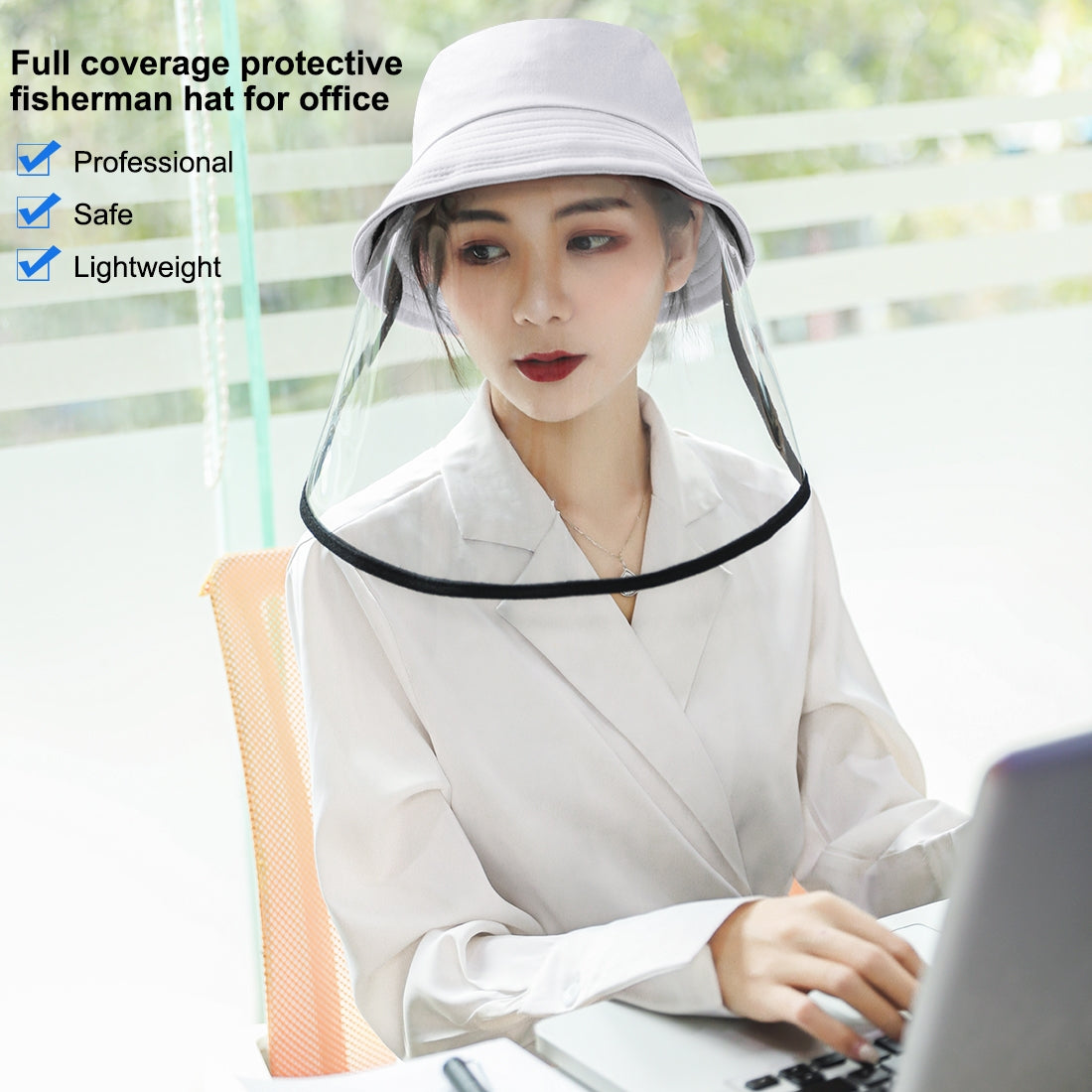 Protective Cap Mask Removable Face Shield (White)
