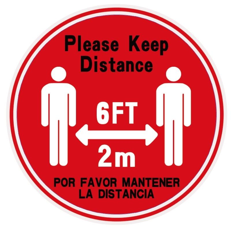 Please Keep distance Red (Bilingual) Safety Floor Decal (10pcs pack)