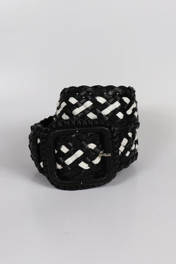 Leather Plaited Belt - Black & White