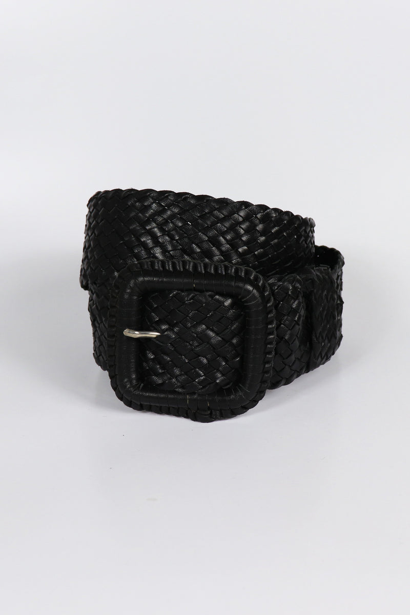 Leather Plaited Belt - Black
