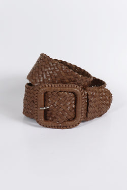 Leather Plaited Belt - Brandy