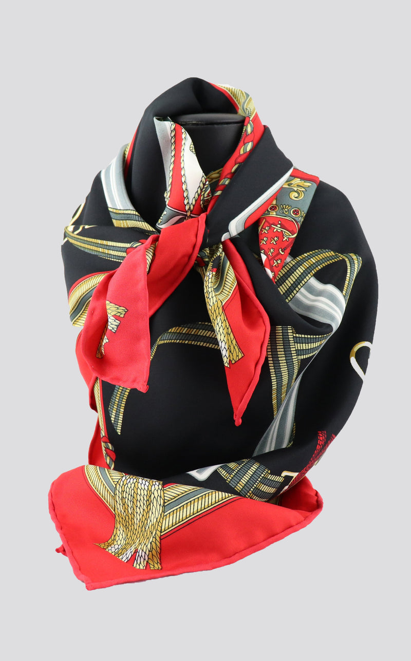 D2 Black & Red Print Silk Premium Scarf