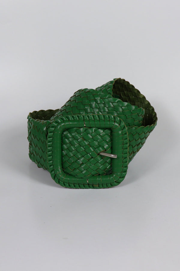Leather Plaited Belt - Emerald