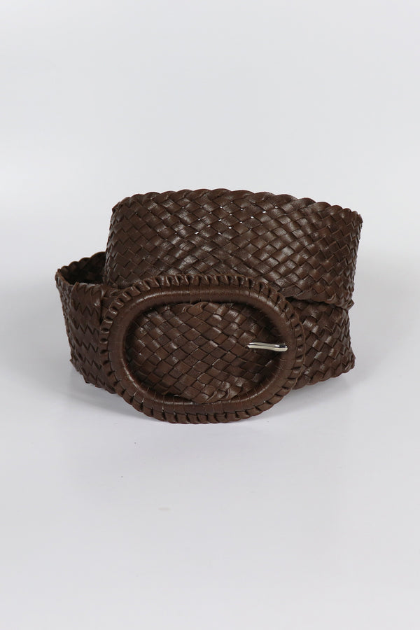 Leather Plaited Belt - Havana