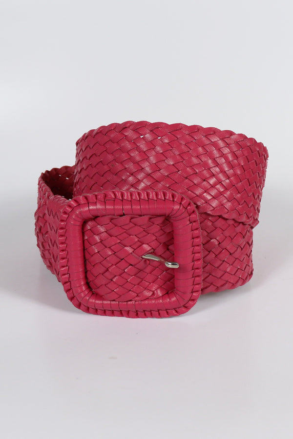 Leather Plaited Belt - Hot Pink