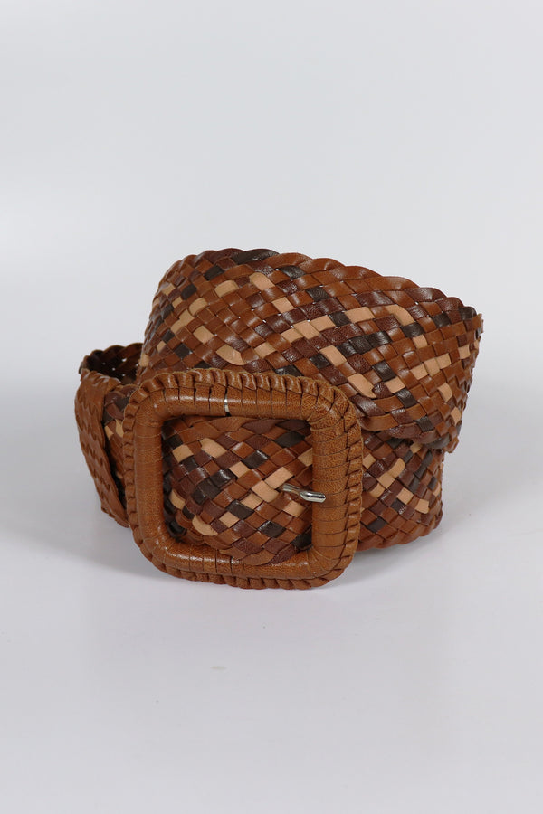 Leather Plaited Belt - Brown Mixed