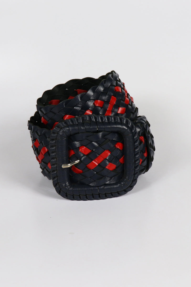 Leather Plaited Belt - Navy and Red