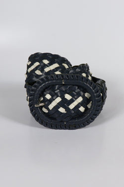 Leather Plaited Belt - Navy and White