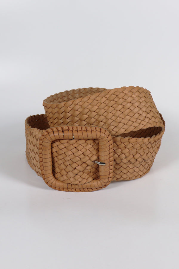 Leather Plaited Belt - Natural