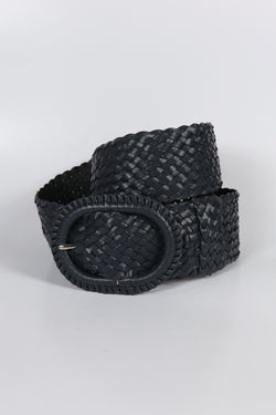 Leather Plaited Belt - Navy