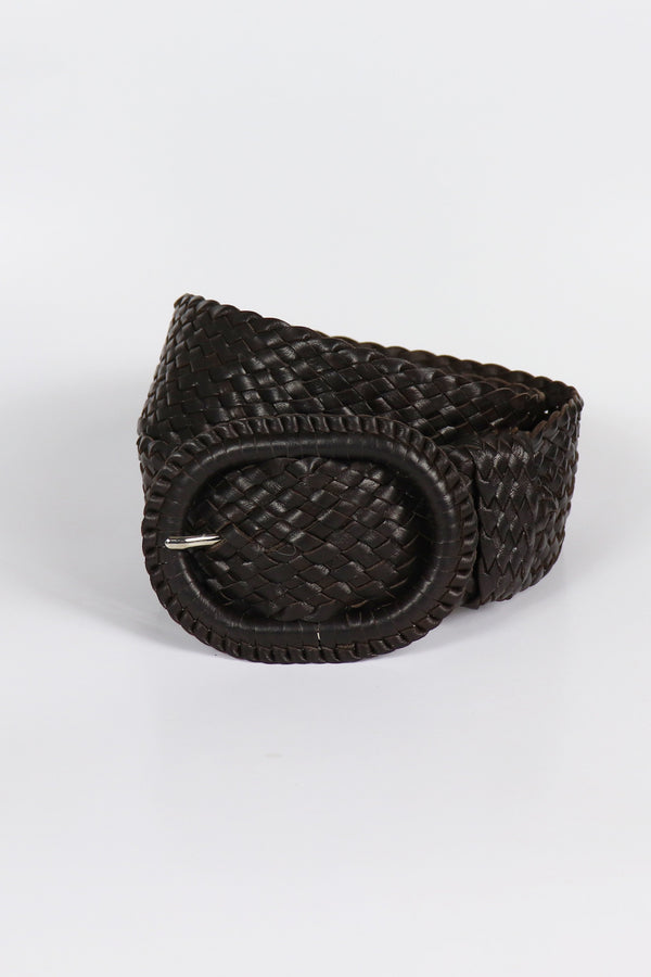 Leather Plaited Belt - Oiled Havana