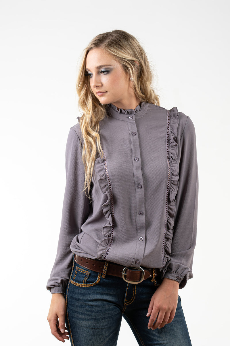 WL333 Grey Ruffle Button Through with Ruffle Detail