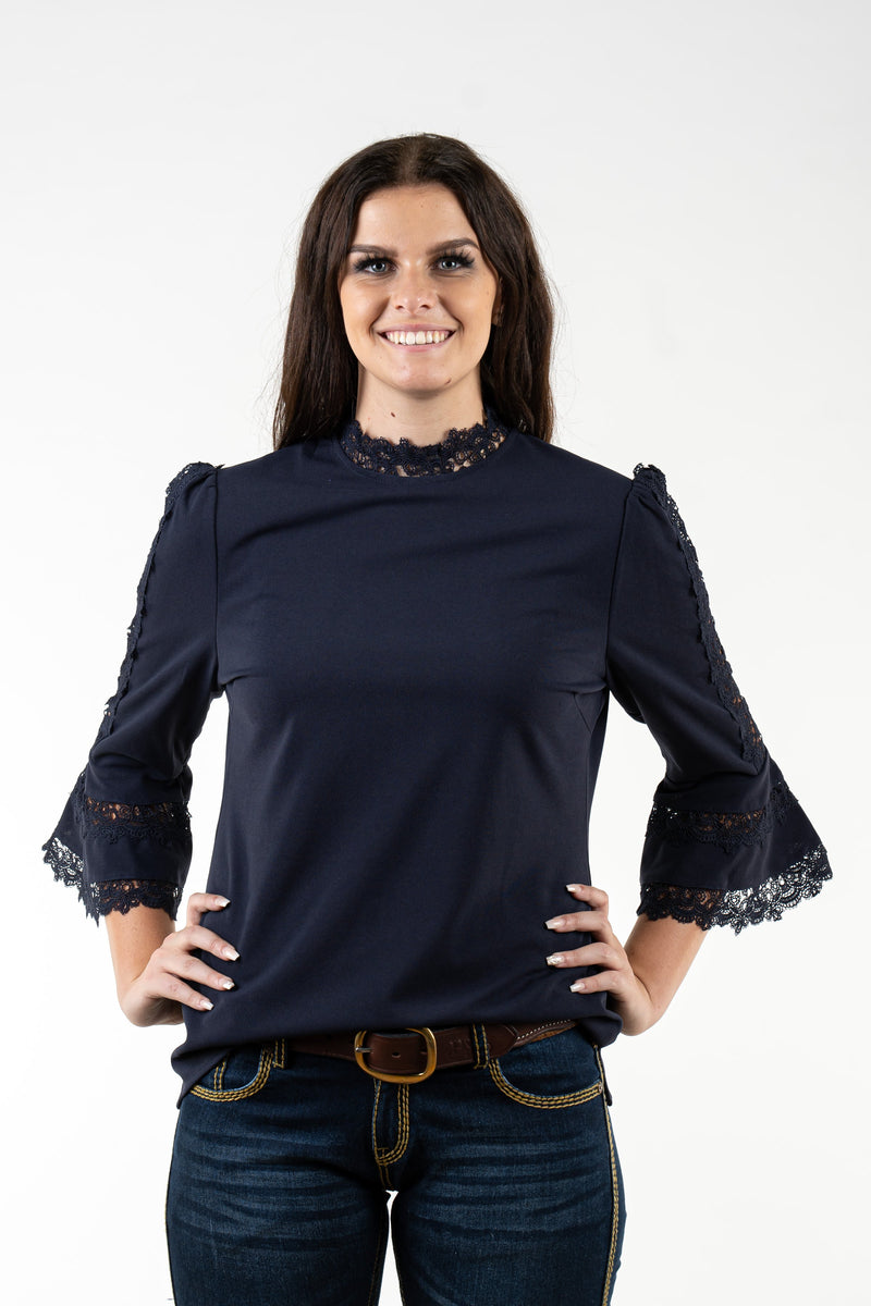 WL320 Navy 3/4 Sleeve Lace Trim