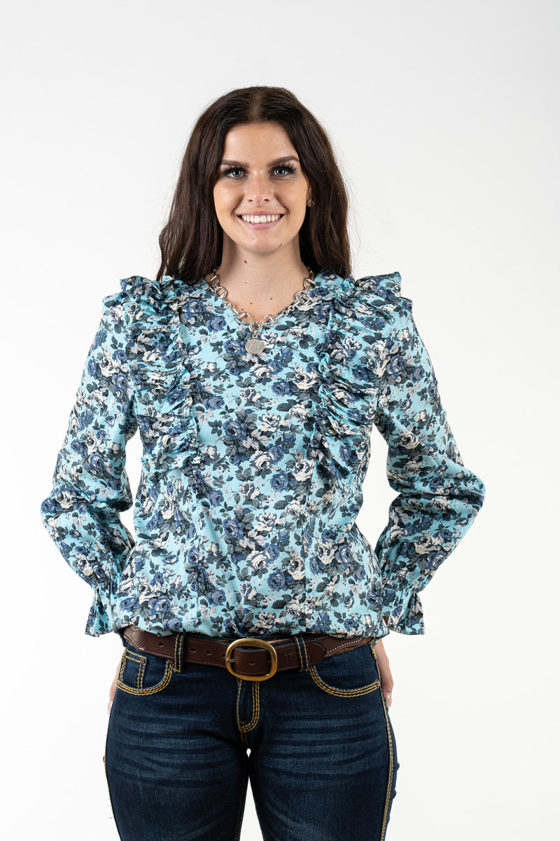 WL315 Blue Floral Chest Ruffles