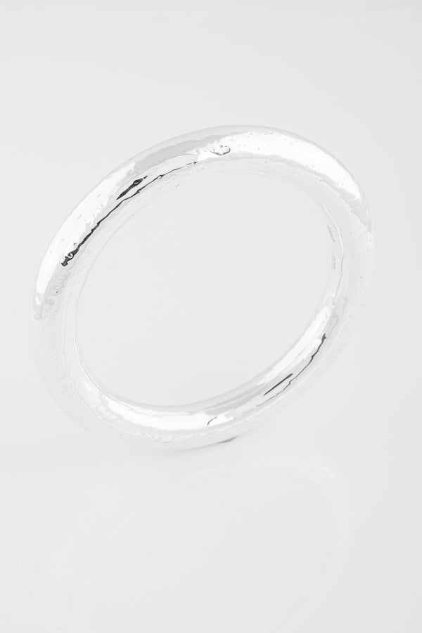 SS03 Silver Hammered Bangle